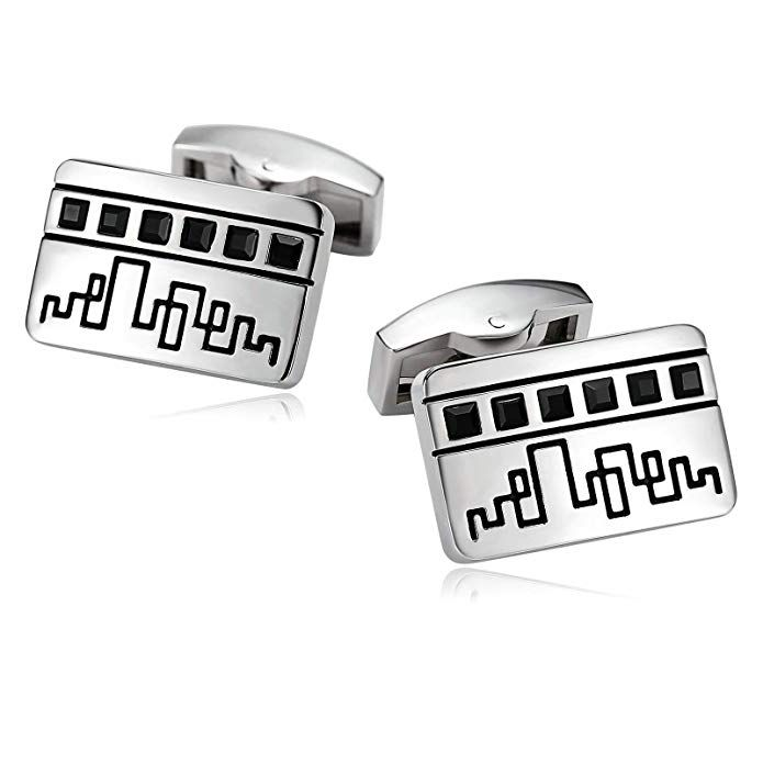 Willis Judd Men/'s DAD Stainless Steel with Black Carbon FIber Cufflinks with Gift Pouch