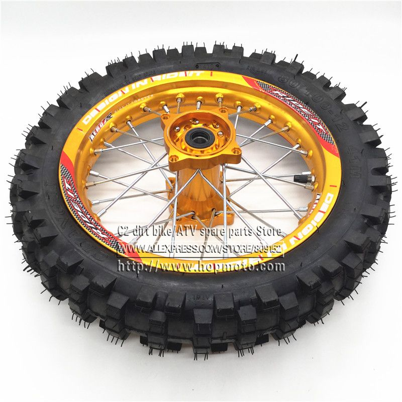 1 85 X 12inch Rear Rims 80 100 12 Guangli Tyres Aluminum Alloy Disc Plate Wheel Rims Gold Cnc Hub 14 32 Spoke Dirt Pit Bike Wheel Rims Pit Bike Wheel