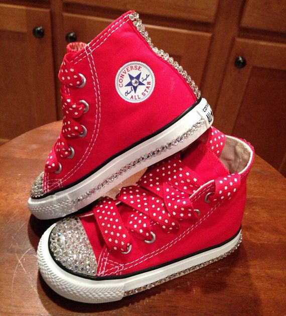 62b32e6fcfb414 Minnie Mouse Red Bling Converse by Munchkenzz on Etsy