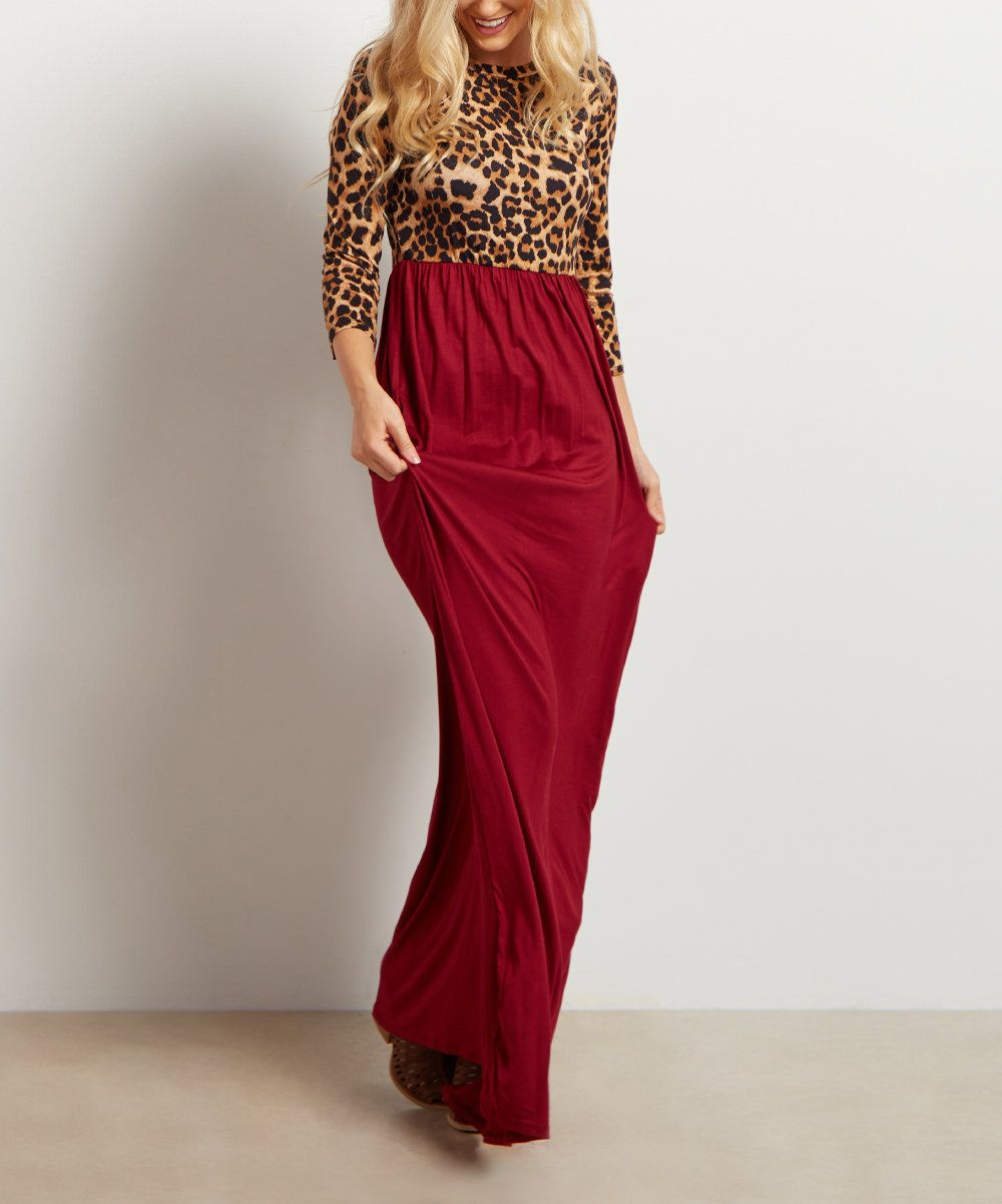 Look at this PinkBlush Burgundy Leopard Maxi Dress on #zulily today!