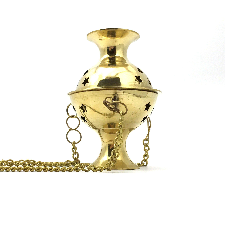 Hanging Brass Incense Charcoal Resin Burner Incense Holder