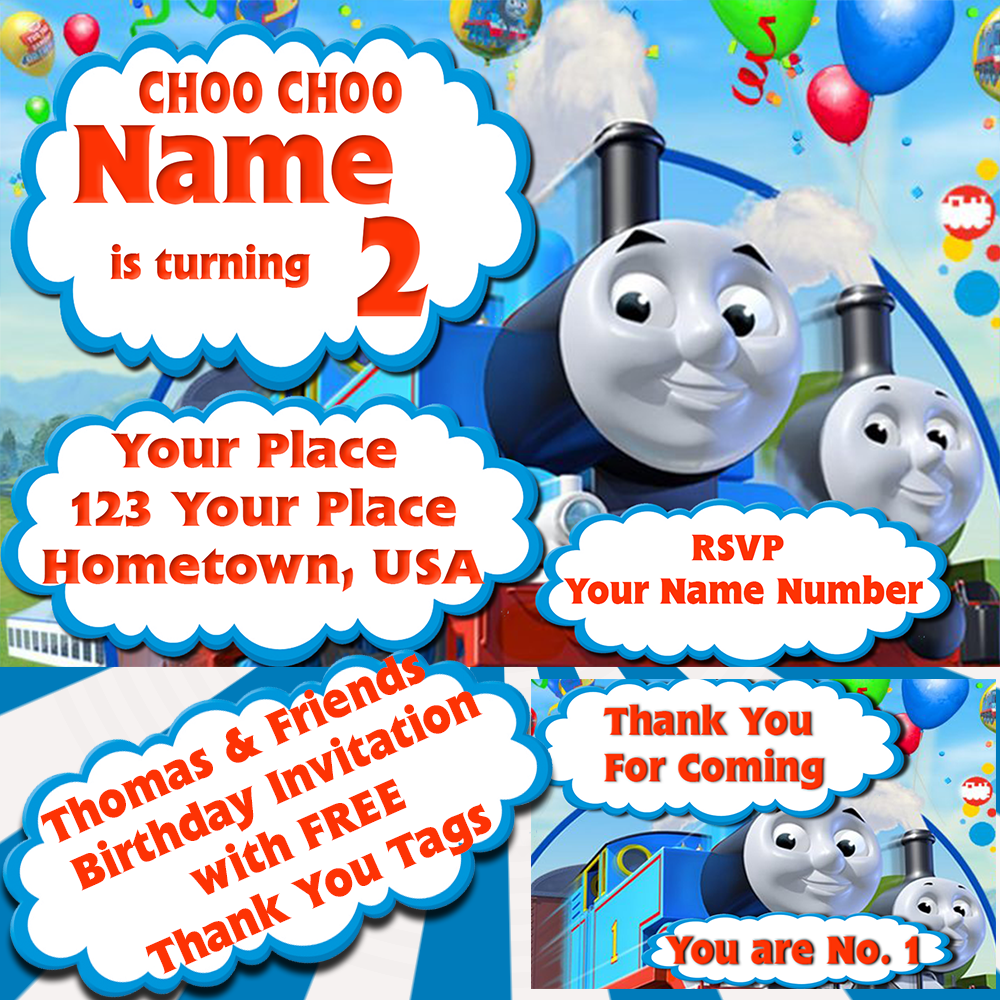 Thomas & Friends - Kids Birthday Invitation with FREE Thank You Tags ...