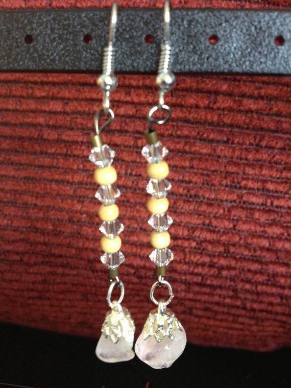 Dangle Earrings with Glass and Wood Beads and by aircooledclothes, $15.00