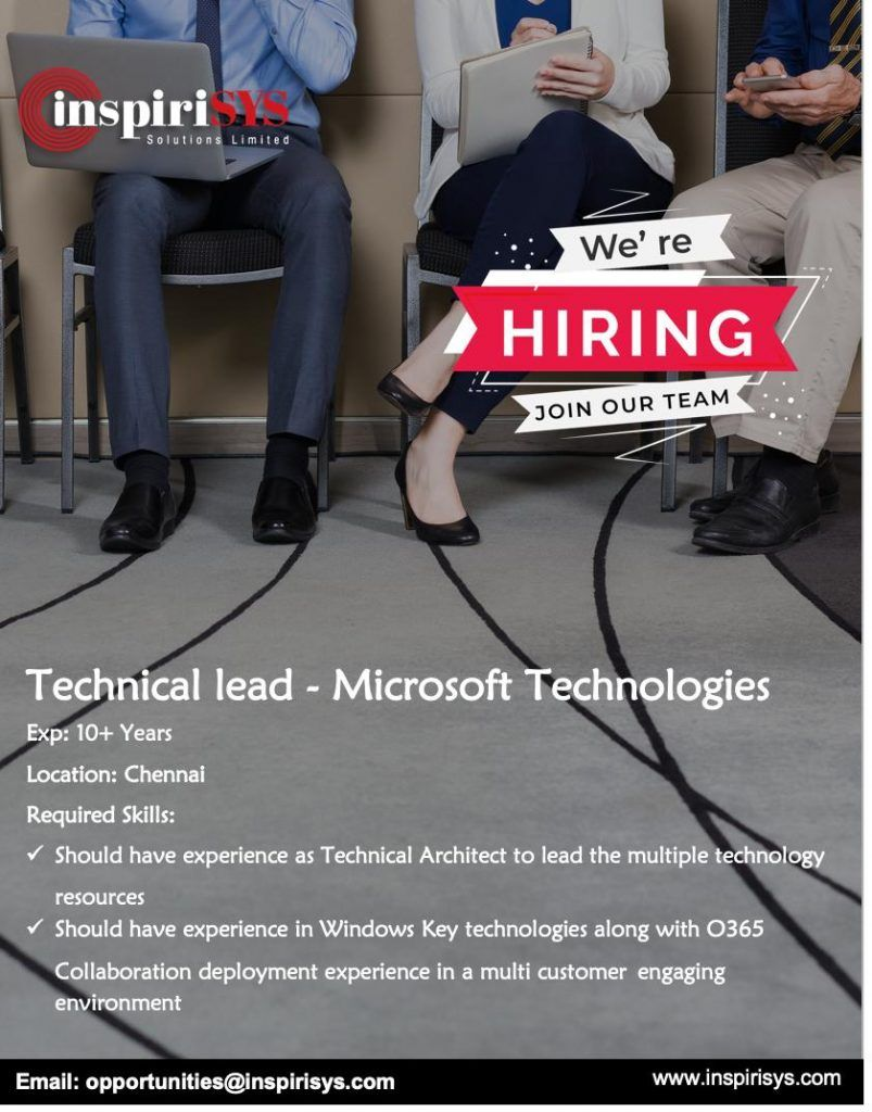 Technical Lead Microsoft Technology India Job Openings