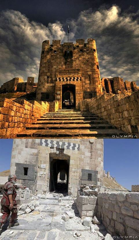 Aleppo Castle Before And After The War Syria Befor After War