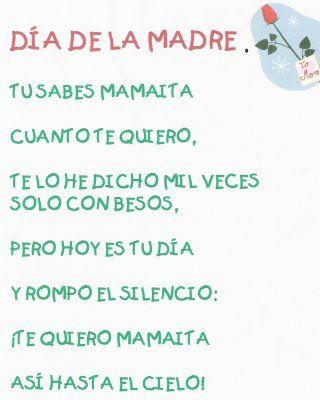 Poemas Canciones Para El Dia De La Madre Para Niños Imagenes Frases Y Poemas De Amor Carino Y Reconocimiento Para