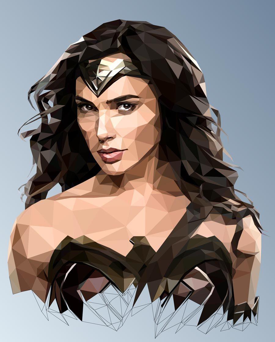 Mordi Levi - Wonder Woman - Low-Poly. Retrato de la Mujer Maravilla ...