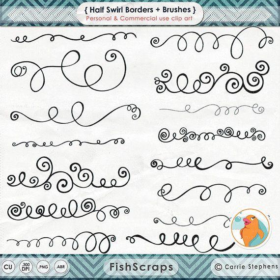 Swirl Border Clip Art Ps Brush Curly Decorative Text Etsy Clip Art Borders Clip Art Diy Invitation Card