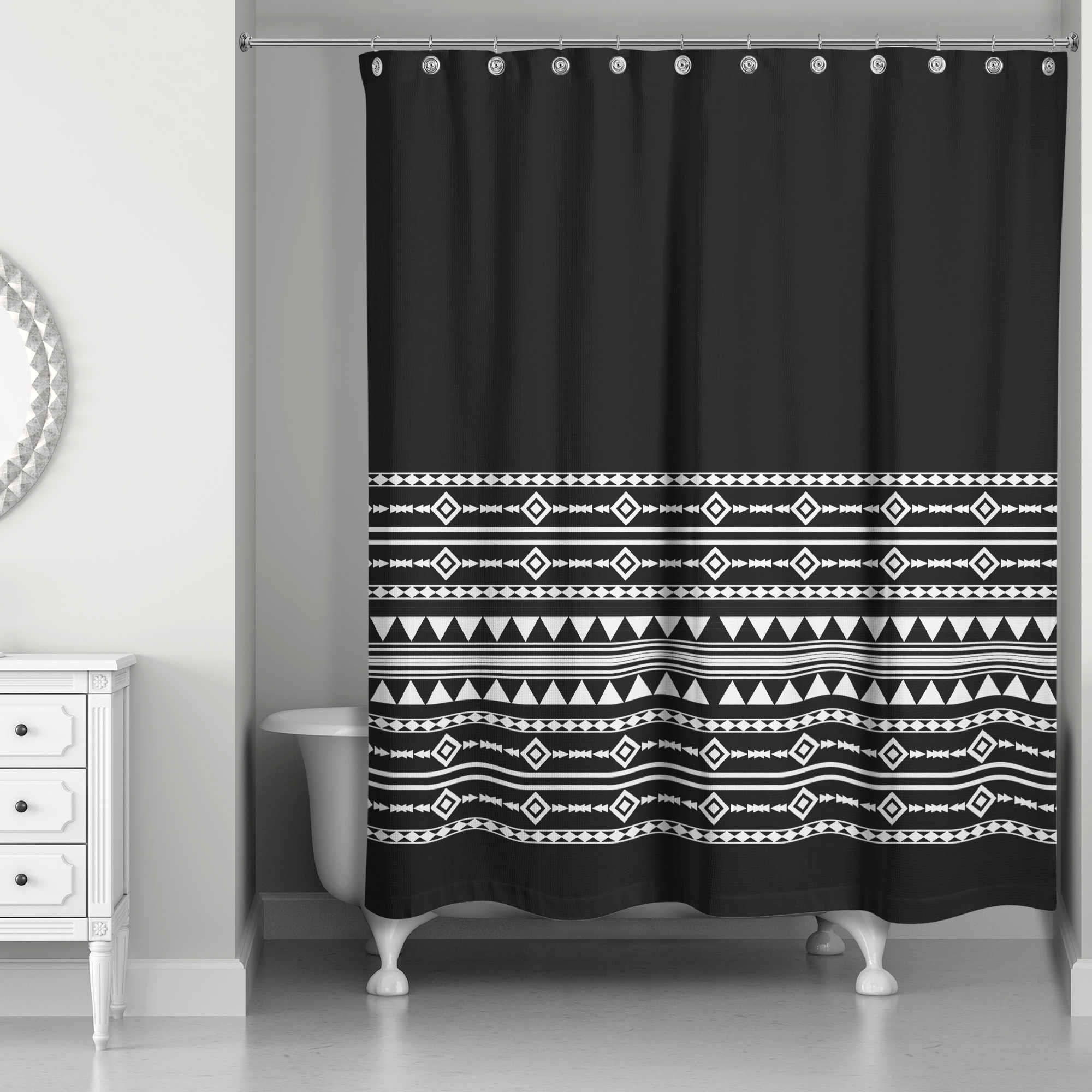 Boho Tribal Shower Curtain In Black White Black Shower Curtains