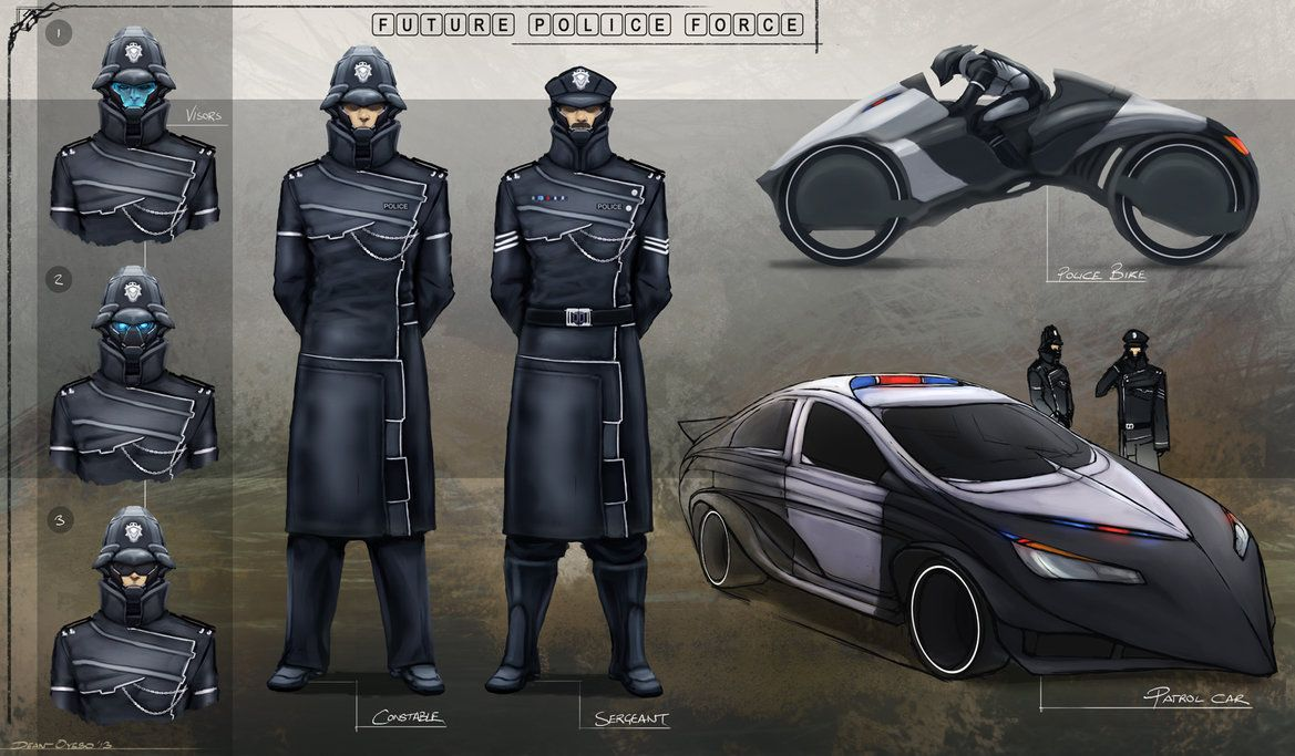 Police Design Sci fi characters, Concept art characters