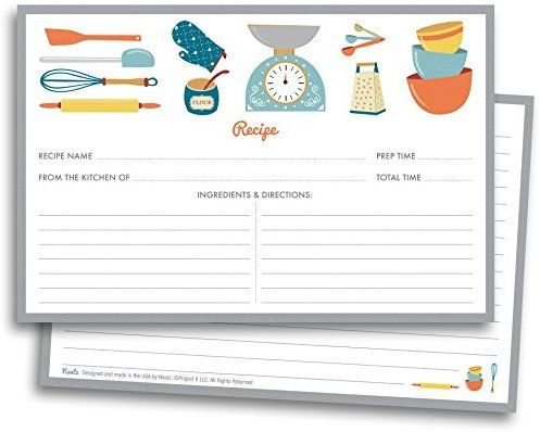 Chef\u0027s Recipe Cards - 50 Double Sided Cards, 4x6 inches
