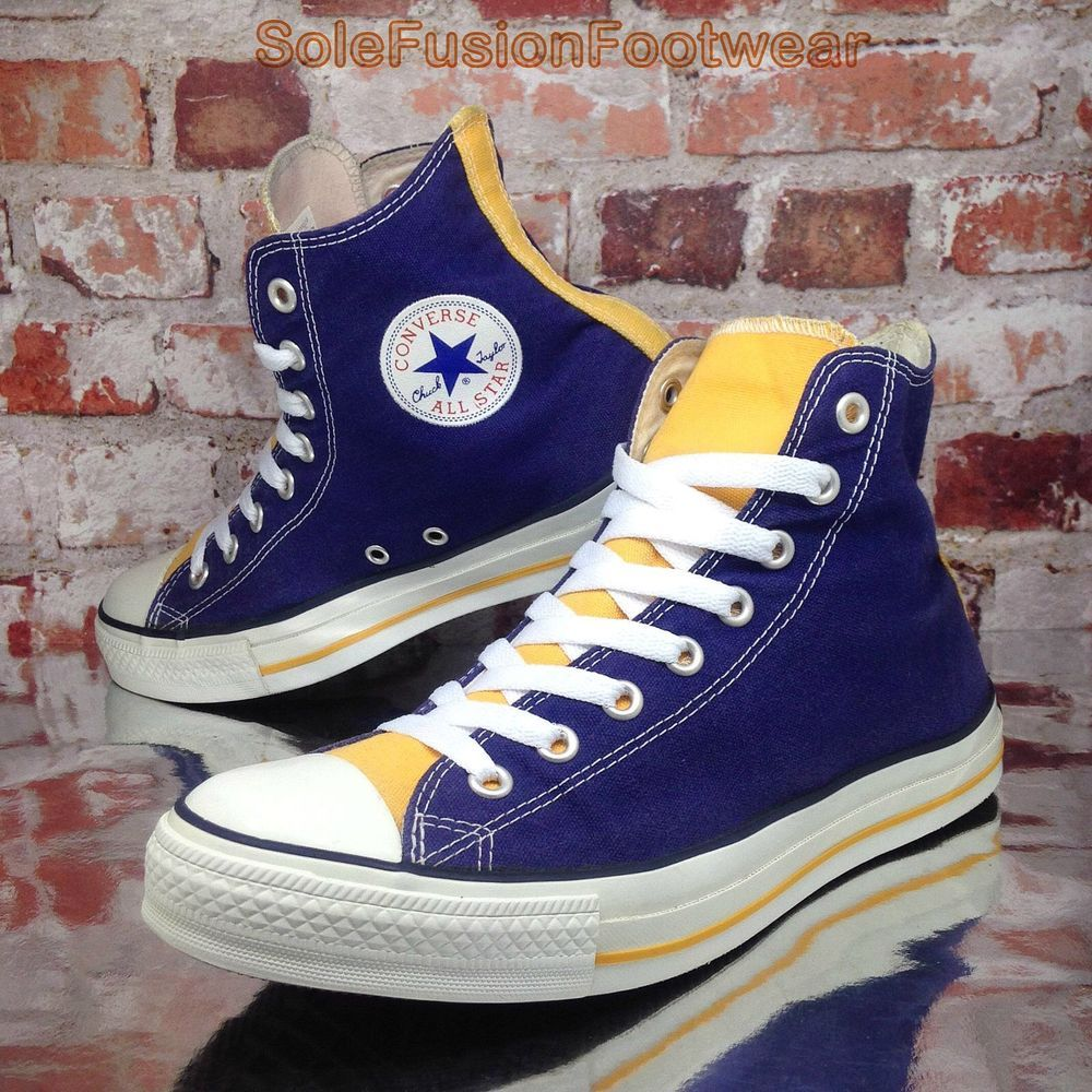52d6cd172c3 Converse Chuck Taylor Mens Trainers Purple/Yellow sz 9 Vintage All Star HI  42.5 | eBay