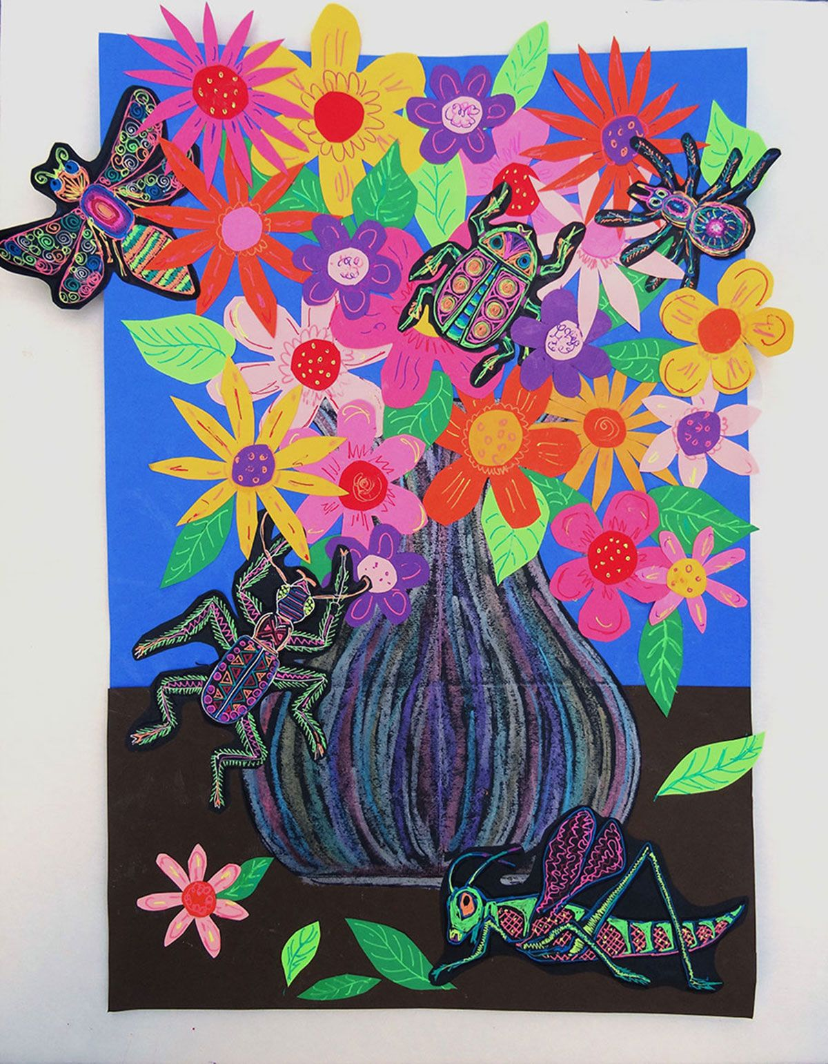 Create a Creepy-Crawly Floral Still Life Collage (Grades 3-