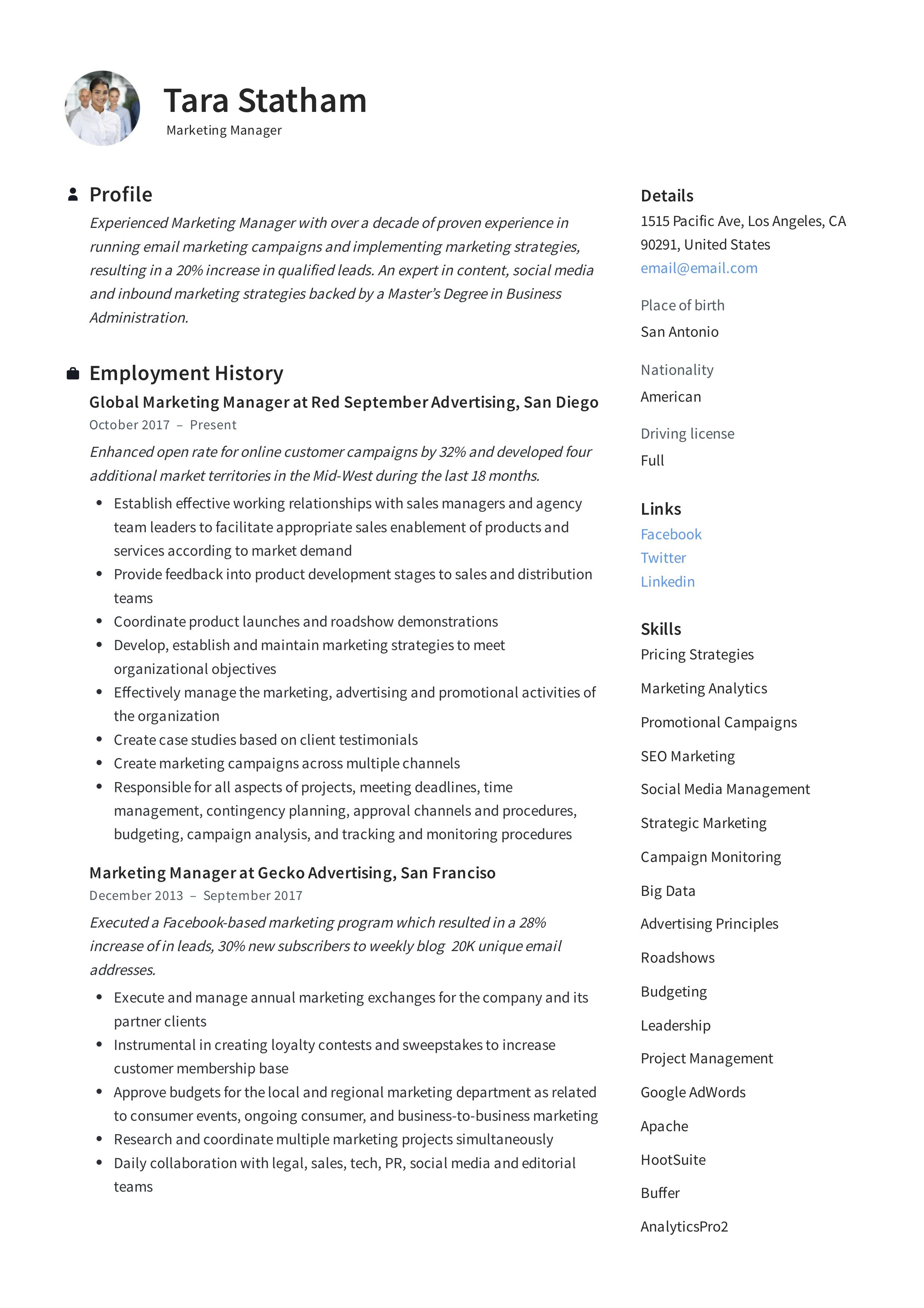 Marketing manager resume writing guide in 2020