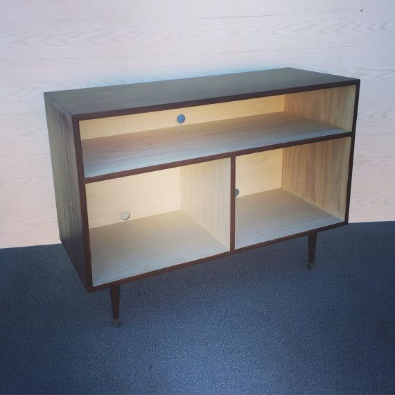 Mid Century Modern Record Cabinet TV Table Media Console w/ Sound ...