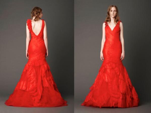 Vestido de novia rojo por Vera Wang, colección primavera 2013