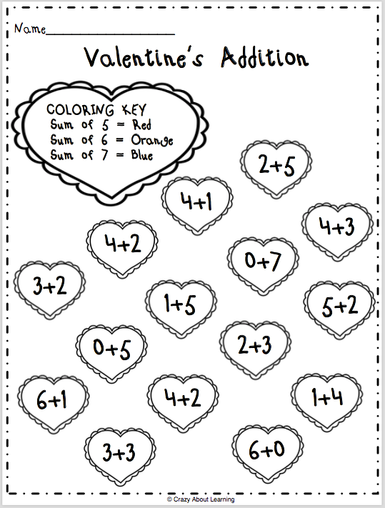 Valentine S Day Color By Sum Worksheet Made By Teachers Math Valentines Addition Coloring Worksheet Kindergarten Valentines