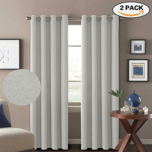 Hversailtex Classical Grommet Top Thermal Insulated Durable Textured Tiny Plaid Linen Like Innovated 85 Blackout Curtains Living Room Curtains Drapes Curtains