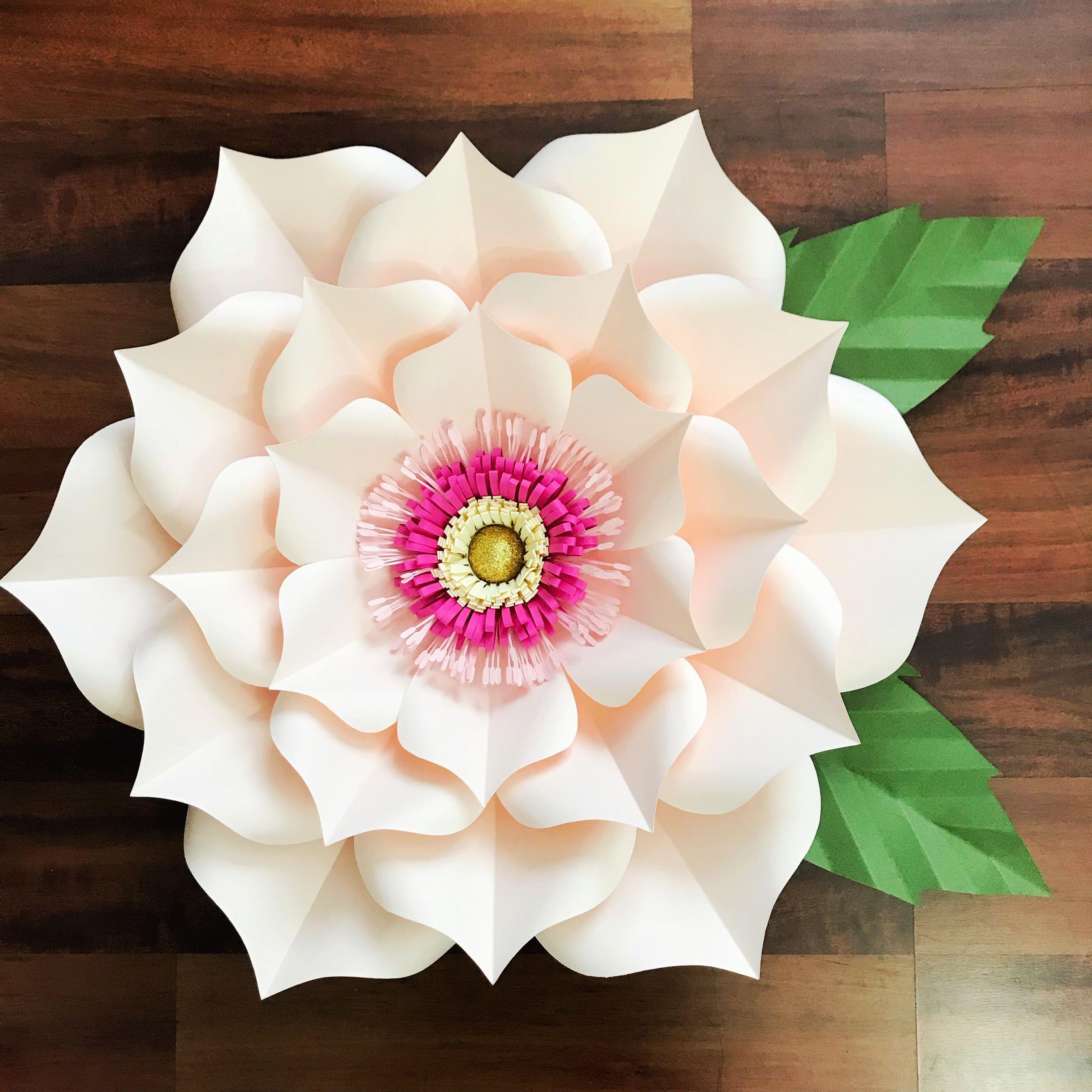 Pdf petal 3 paper flower template with base digital