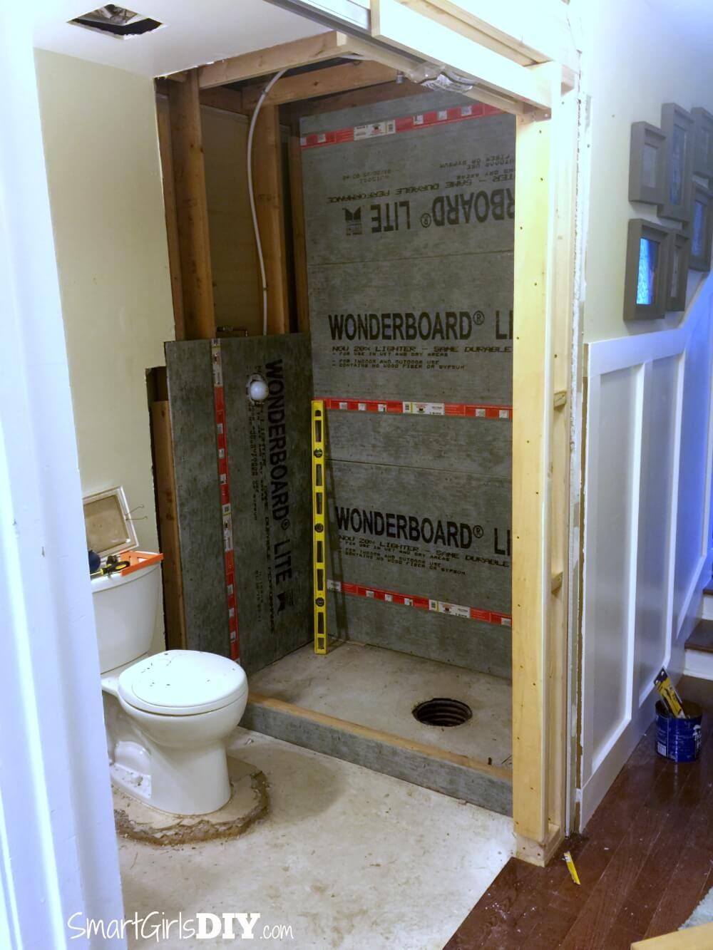 Diy custom shower 1 supplies walls curb pocket doors