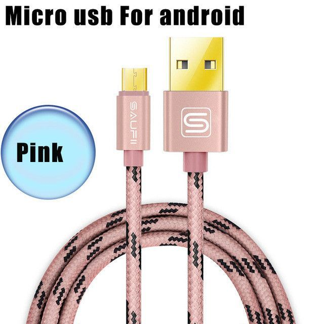 USB Data Charger Cable Nylon Braided Wire Metal Plug Micro USB Cable ...