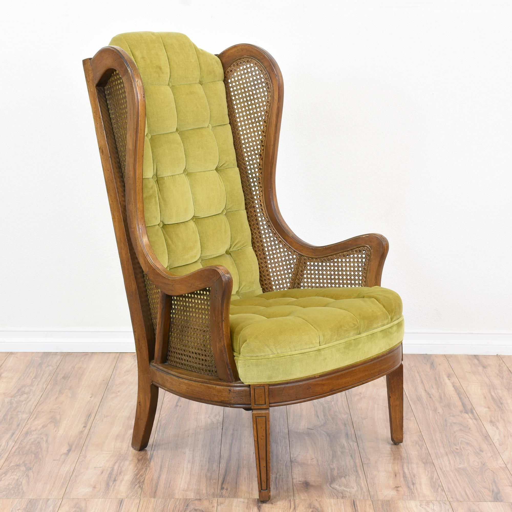This Wingback Armchair Featured Solid Wood With Glossy Light Green
