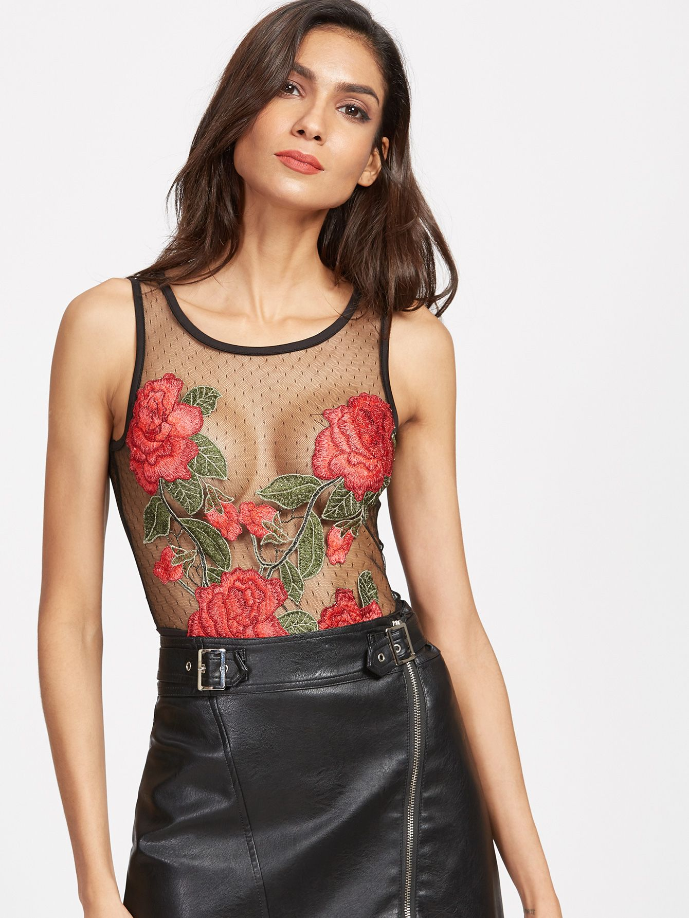 8918c865bff87 20$ Online shopping for Black Rose Embroidered Cutout Back Mesh Bodysuit  from a great selection of women's fashion clothing & more at MakeMeChic.COM.