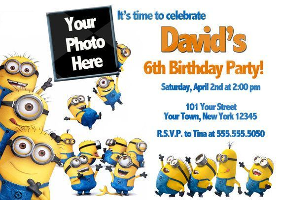 Custom Despicable Me Birthday Invitations My class Pinterest