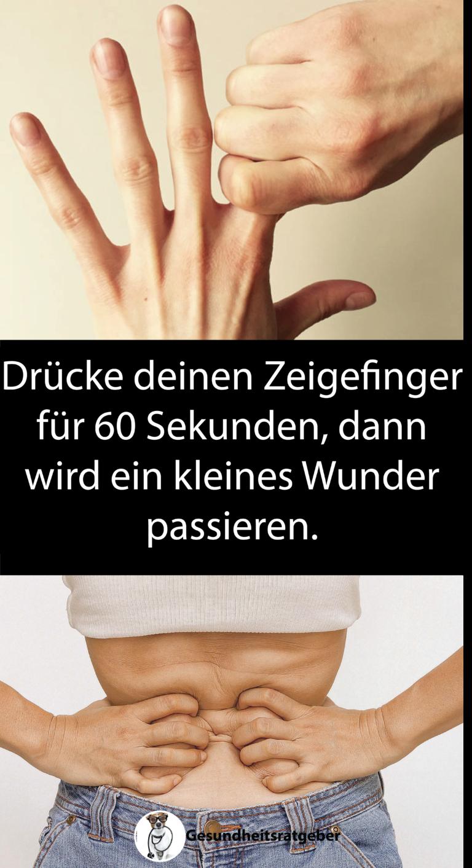 Drücke deinen Zeigefinger für 60 Sekunden, dann wird ein ...