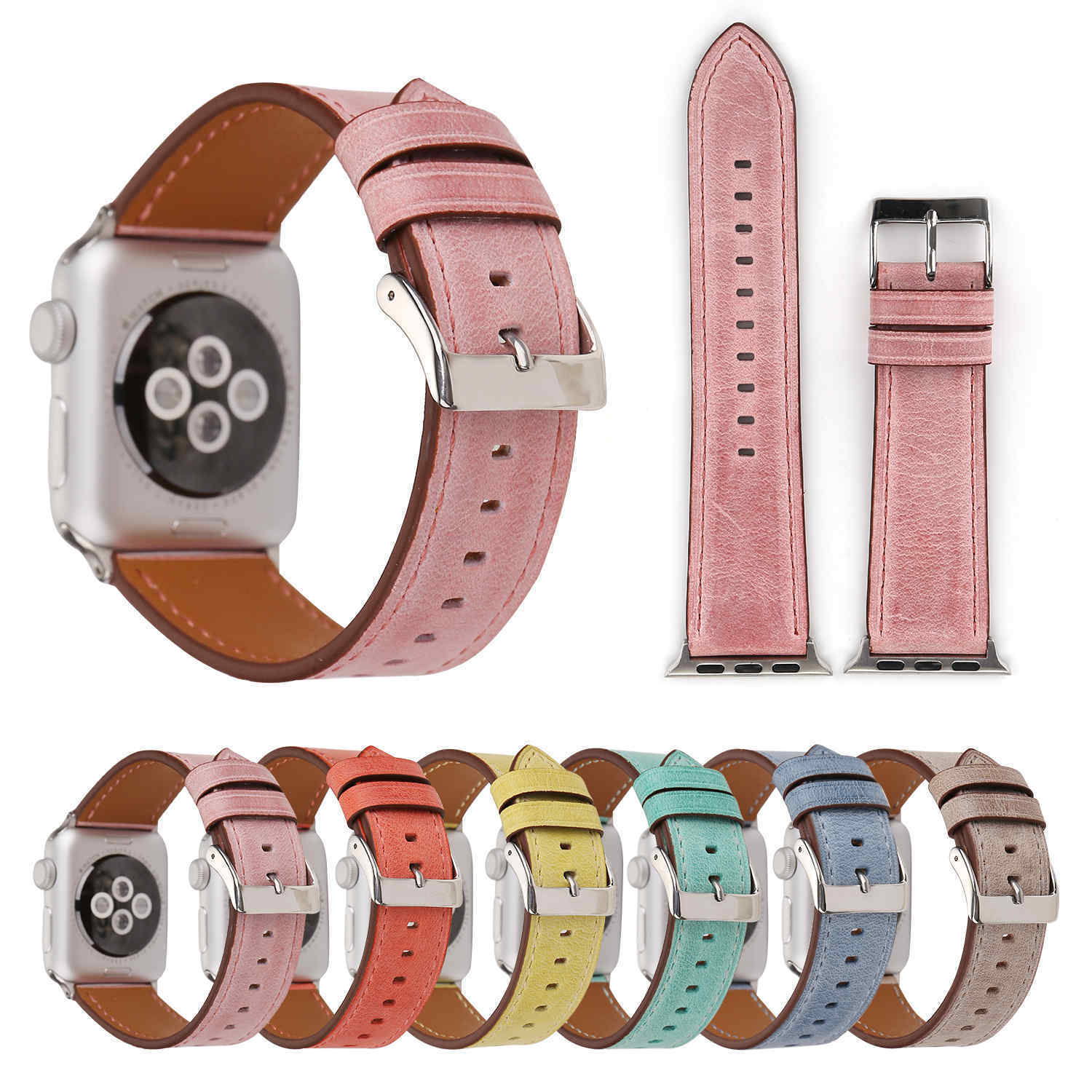 Stylish Genuine Leather Strap For Apple Watch Series 3 2 1 Watch Band W Adapters Ebay Fashion Apple Watch Leather Leather Watch Bands Apple Watch Replacement Bands