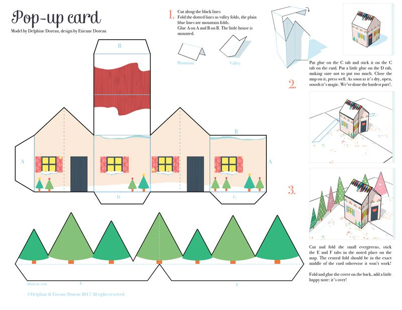 Do It Yourself Pop Up Card Le Lapin Dans La Lune Pop Up Christmas Cards Pop Up Card Templates Christmas Cards Free