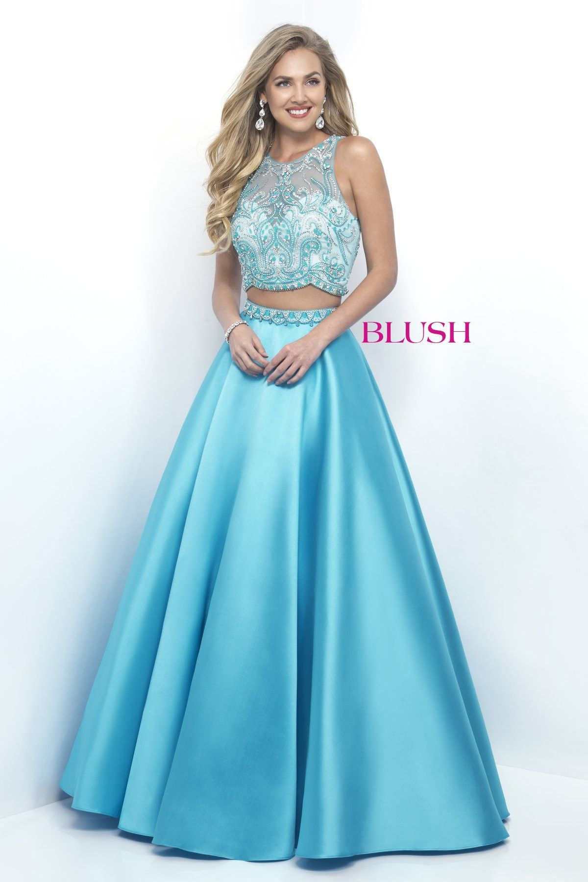 adecaef692d Pink by Blush 5619 Sky Blue Beaded Two-Piece Prom Dress