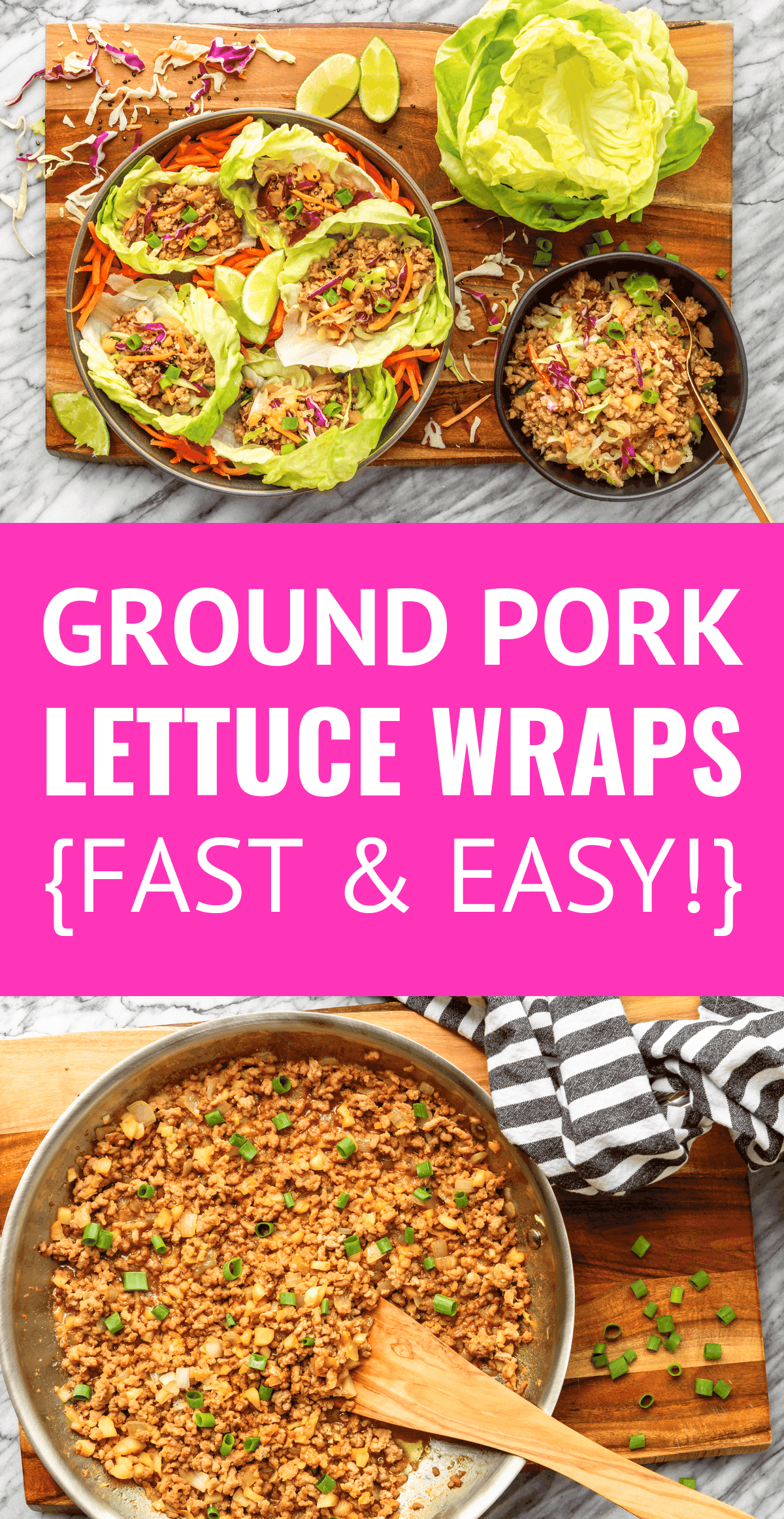 Easy Asian Ground Pork Lettuce Wraps -- this pork lettuce wraps recipe is a total crowd pleaser! Tender browned ground pork mixed with crunchy veggies and a tangy sweet & sour Asian sauce, all wrapped up in a cool and crisp bibb lettuce leaf, makes for a super satisfying meal in under 20 minutes. | ground pork lettuce cups | healthy pork lettuce wraps | low carb pork lettuce wraps