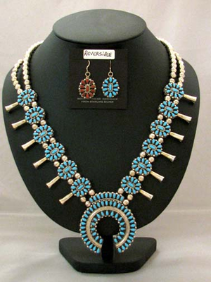 Navajo Made Reversible Squash Blossom Necklace and Earrings