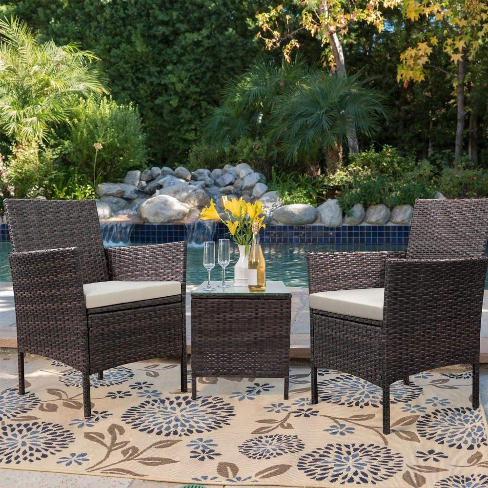 Opk 3 Piece Outdoor Rattan Wicker Patio Furniture Set With Coffee Table Chairs For Garden Lawn Backyard Pool Walmart Com In 2021 Porch Furniture Sets Outdoor Garden Furniture Garden Furniture Sets