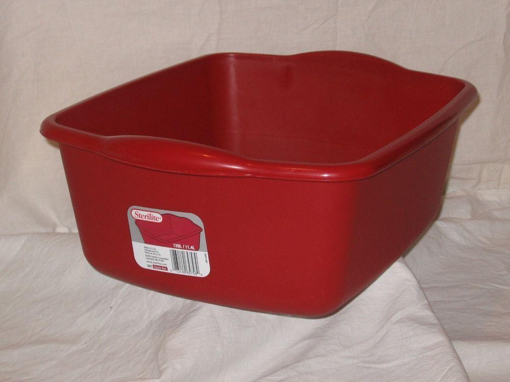 Irregular Red Kitchen Sterilite 12 Qt Plastic Sink Dish Pan Wash Tub Laundry