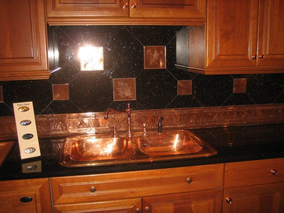 amusing black tin backsplash creative concepts inspiring tin backsplash and black tile with kitchen cabinets - Kitchen Metal Backsplash
