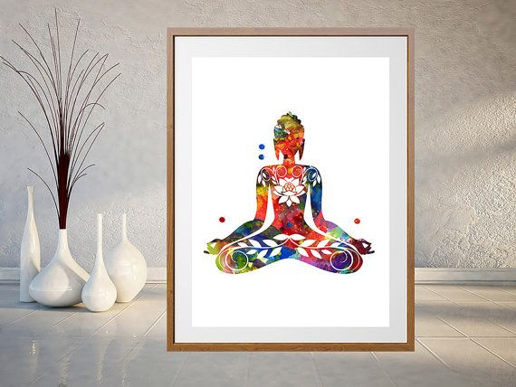 Spiritual Wall Art sitting buddha art print, yoga illustration poster, buddhist