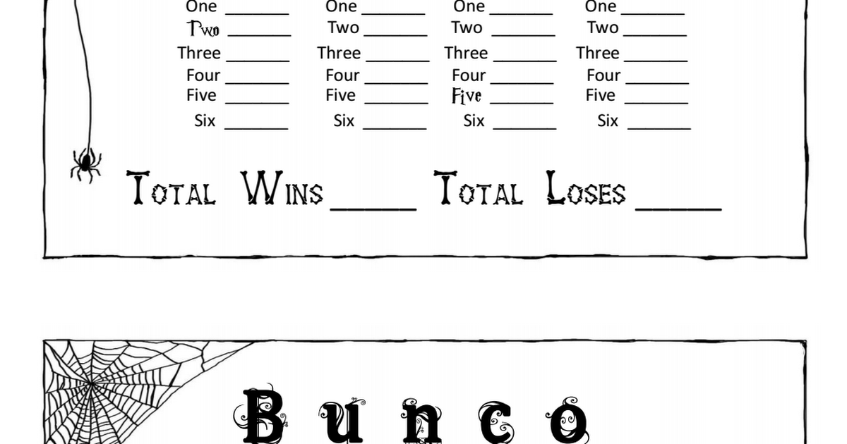 Halloween Bunco Score SheetsPdf  Bunco    Halloween Bunco