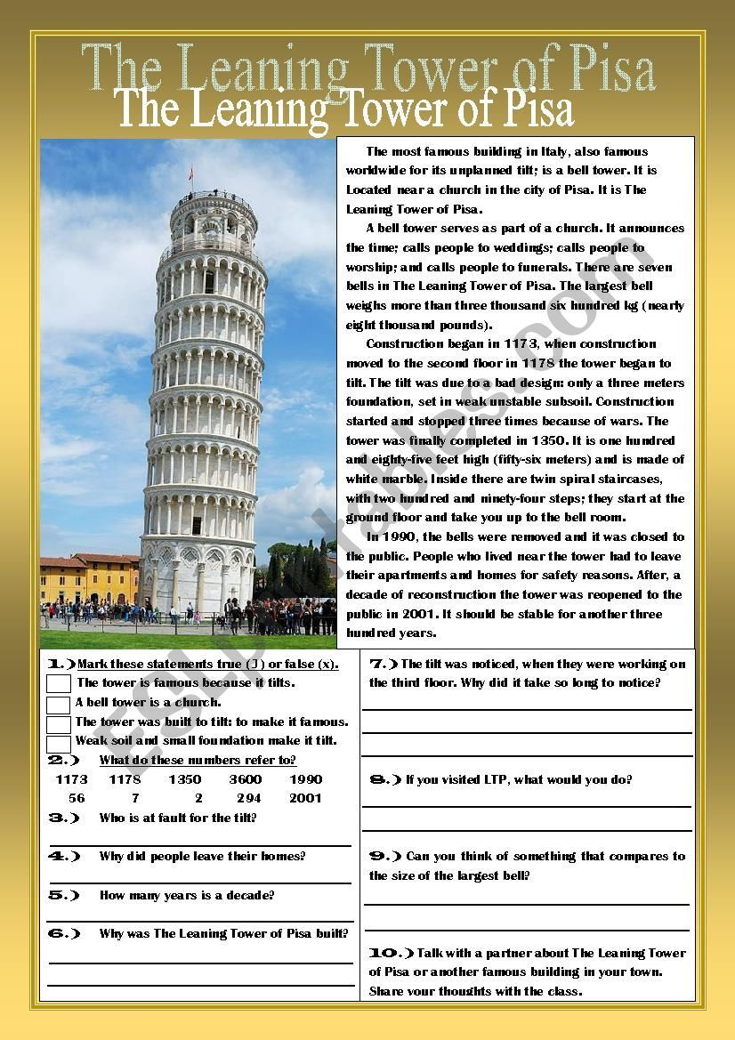 The Leaning Tower Of Pisa Reading Comprehension Practice Exercises Reading Comprehension Practice Reading Comprehension Comprehension Practice [ 1169 x 826 Pixel ]