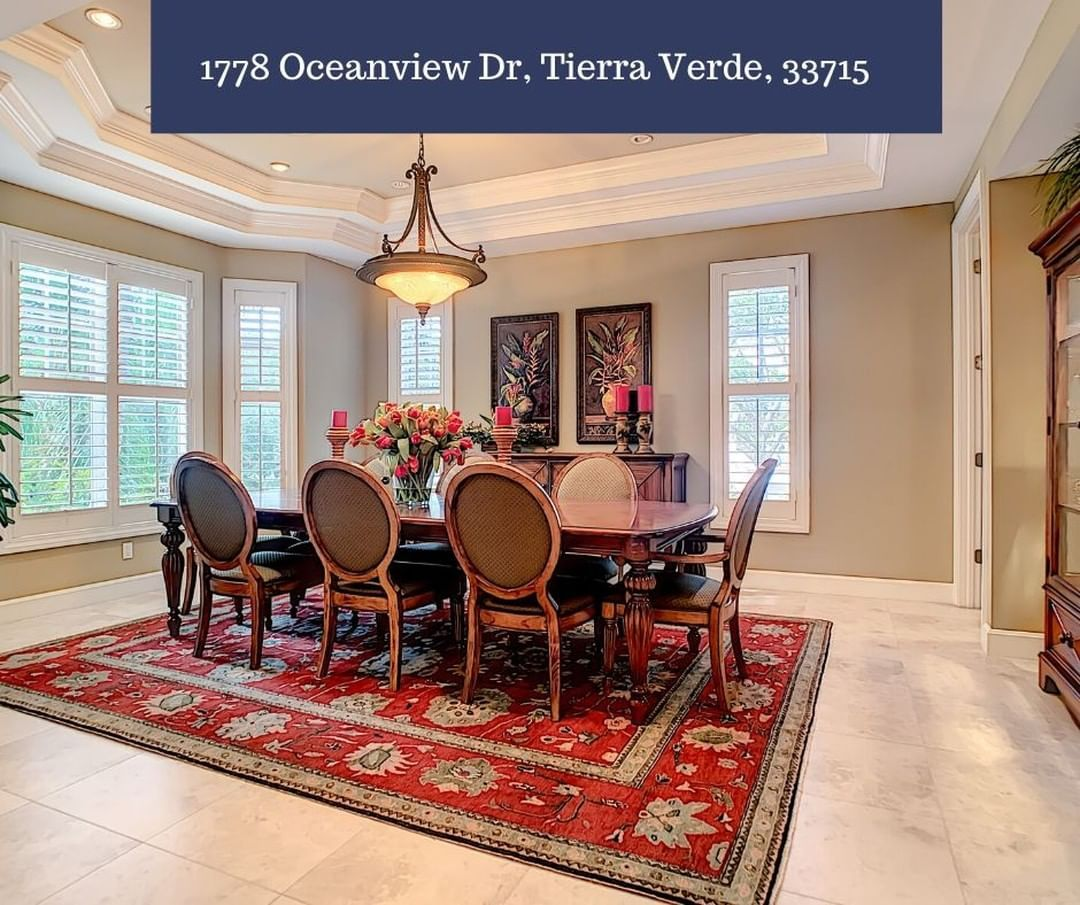 Who would love to host a holiday dinner in this exquisite dining room  1778 Oceanview Dr TIERRA VERDE FL 33715 coastalpgi