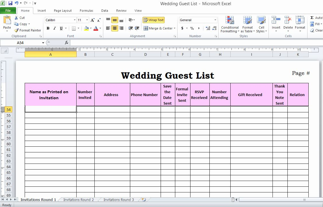 Wedding Invitation List Templates Beautiful Wedding Guest List In