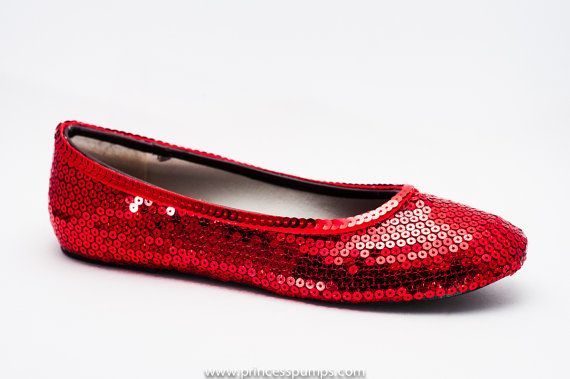Princess Pumps Simple Red Sequin Ballet Flats by princesspumps, $39.99