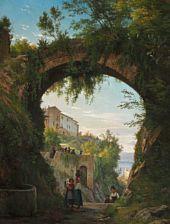 Carl Frederic Aagaard (1833-1895):   Italienere under en akvædukt i en højtliggende by ved en sø , 1878-79