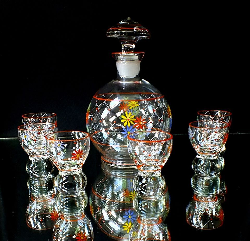 6 likörgläser mit karaffe, art deco, kristall kunstglas, böhmen