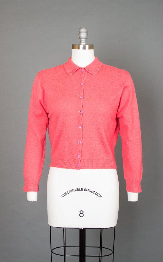 d251a8fa085 Vintage 50s Pink Cashmere Knit Cardigan