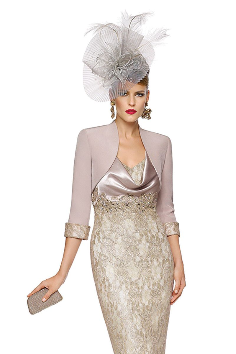 0c98a916 Silk bolero jacket with lace cuffs. Matching short shift dress with satin  cowl neck and silk skirt with lace overlay Product Code: 00989