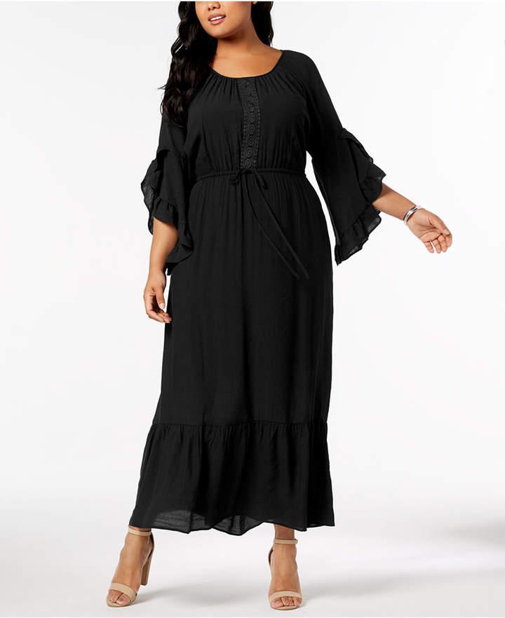 413d5490c23 NY Collection Plus   Petite Plus Size Crochet-Trim Peasant Maxi Dress