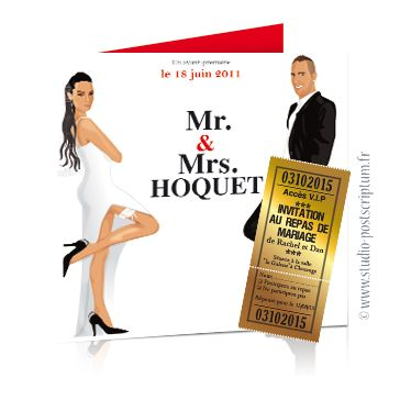 faire part de mariage original affiche cin ma mr mrs smith avec ticket save the date wedding. Black Bedroom Furniture Sets. Home Design Ideas