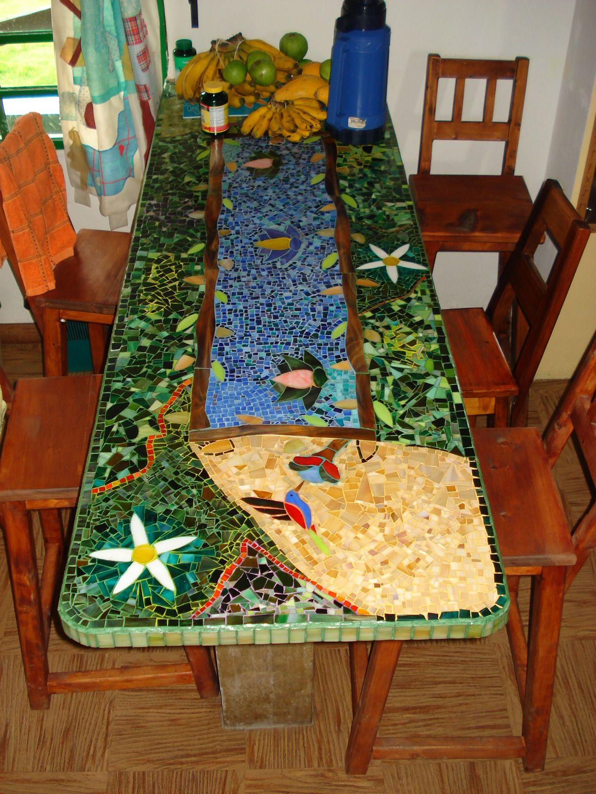 Mesa barra auxiliar de comedor mis trabajos en vitral y for Mesas de mosaico